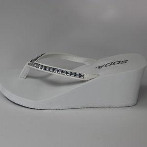 0a35c8423c0a4 Soda Shoes - SODA RHINESTONE THONG-ON SANDALS EVA WEDGE